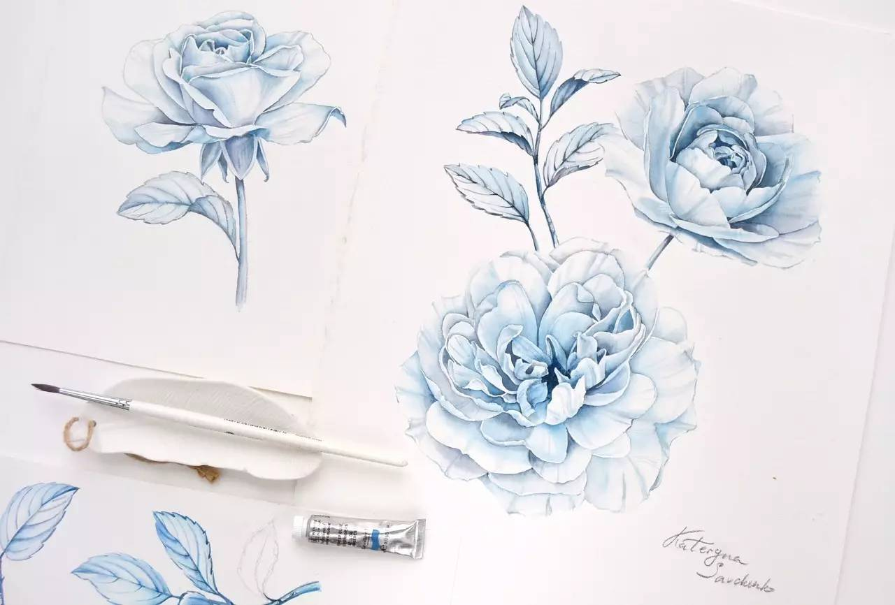 女孩水彩只画美食和花卉,却唯美怡人!