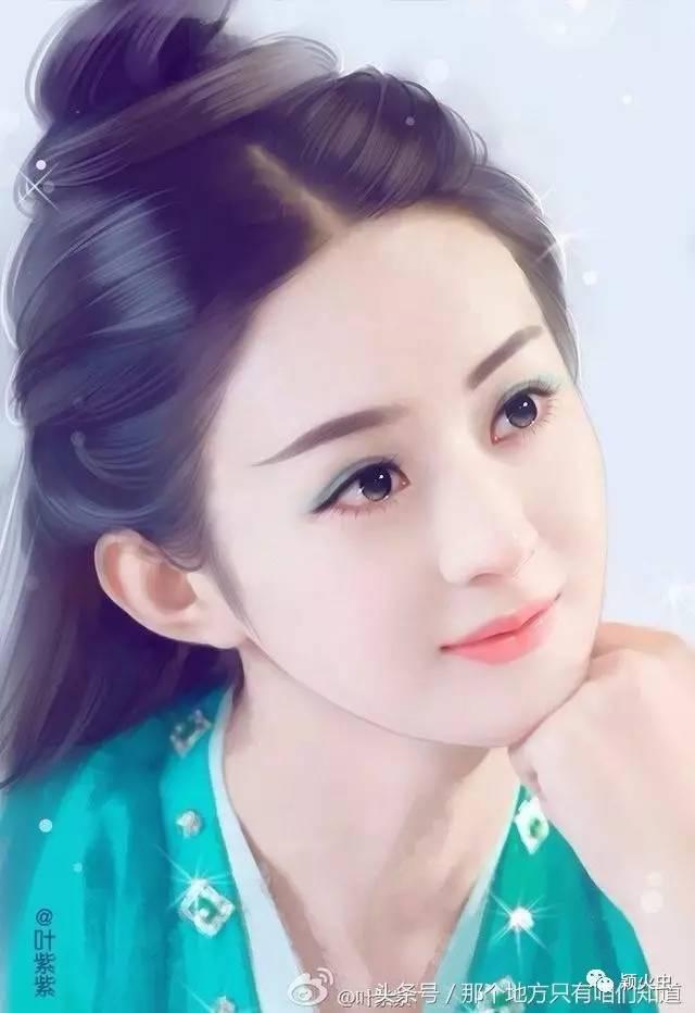 赵丽颖纯手绘照片,手托红腮在想什么?