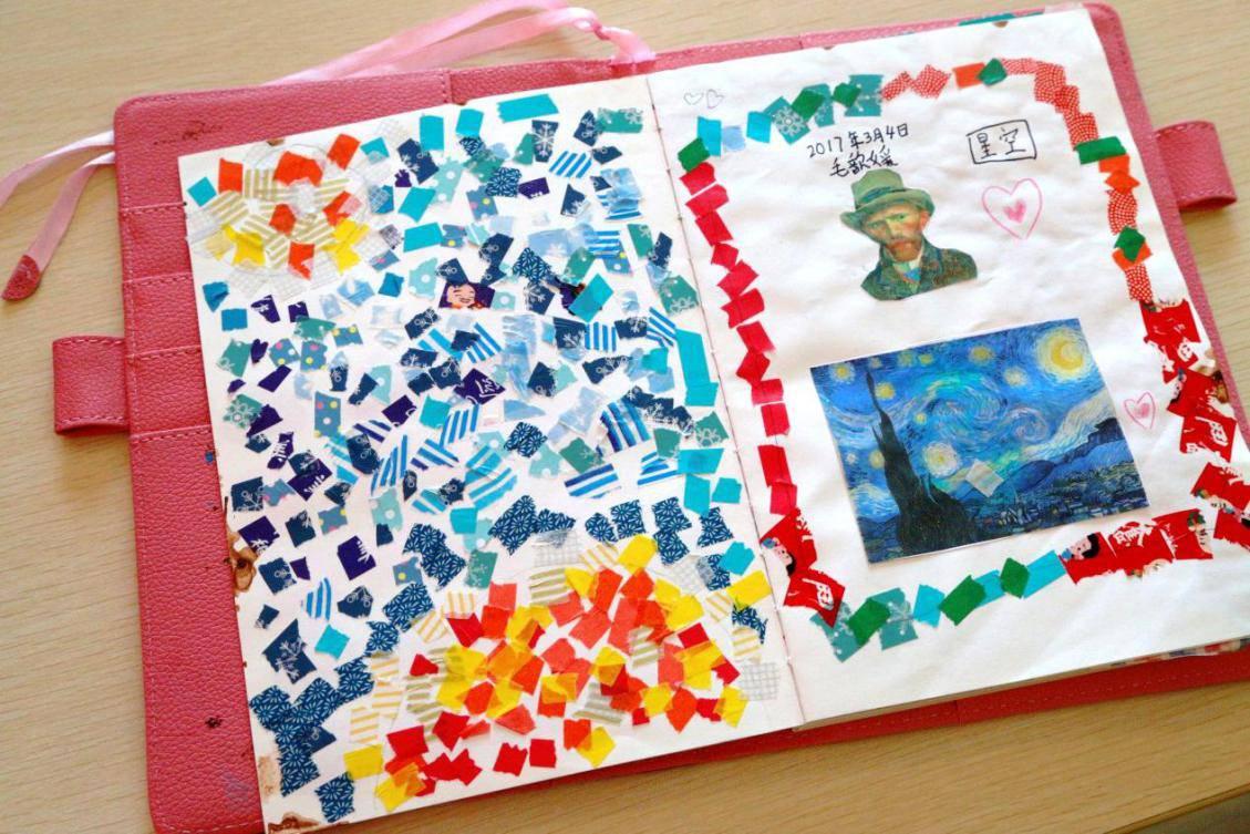 以家庭成组手工制作上汽·上海文化广场的参观手帐,让孩子学会用手帐