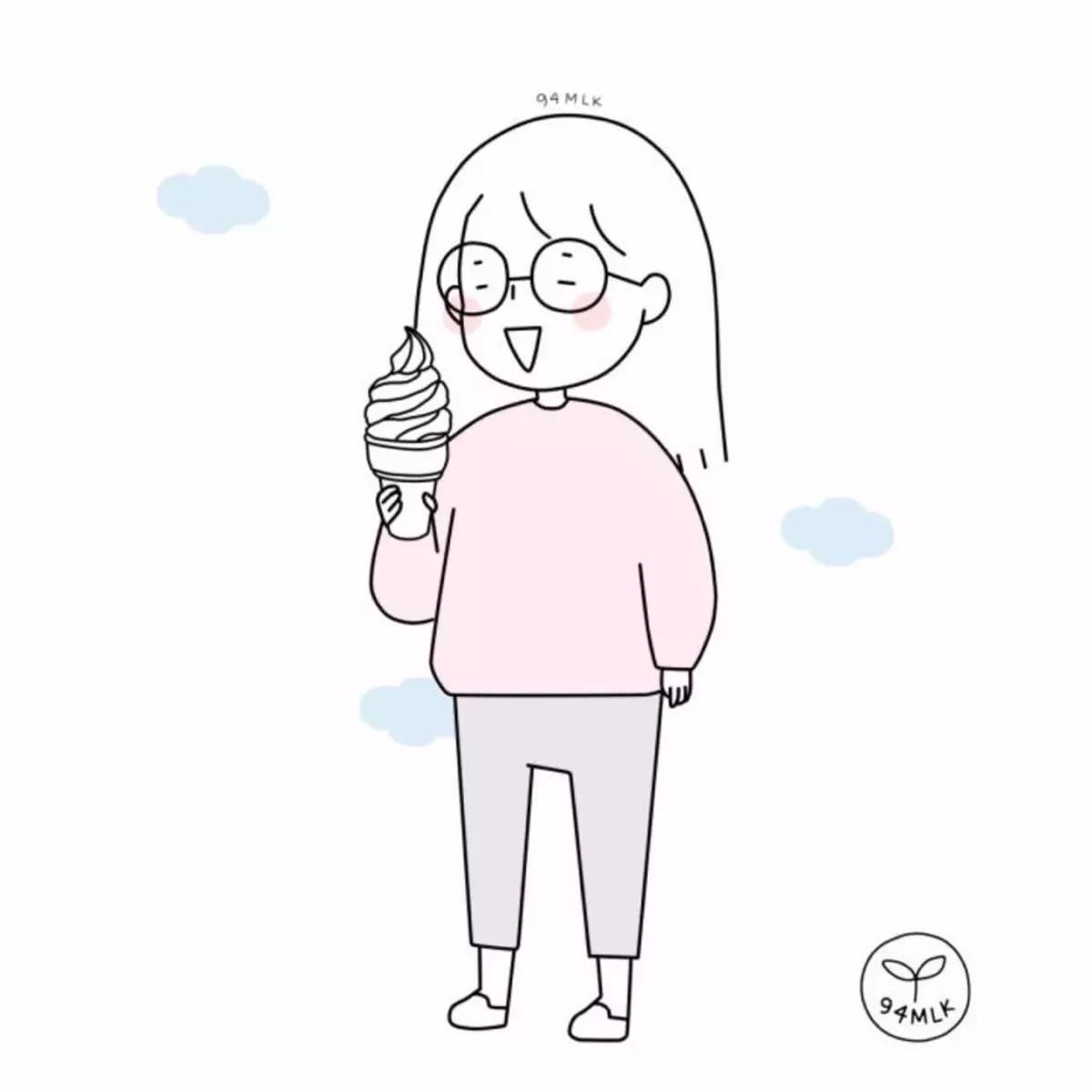 吃冰淇淋简笔画