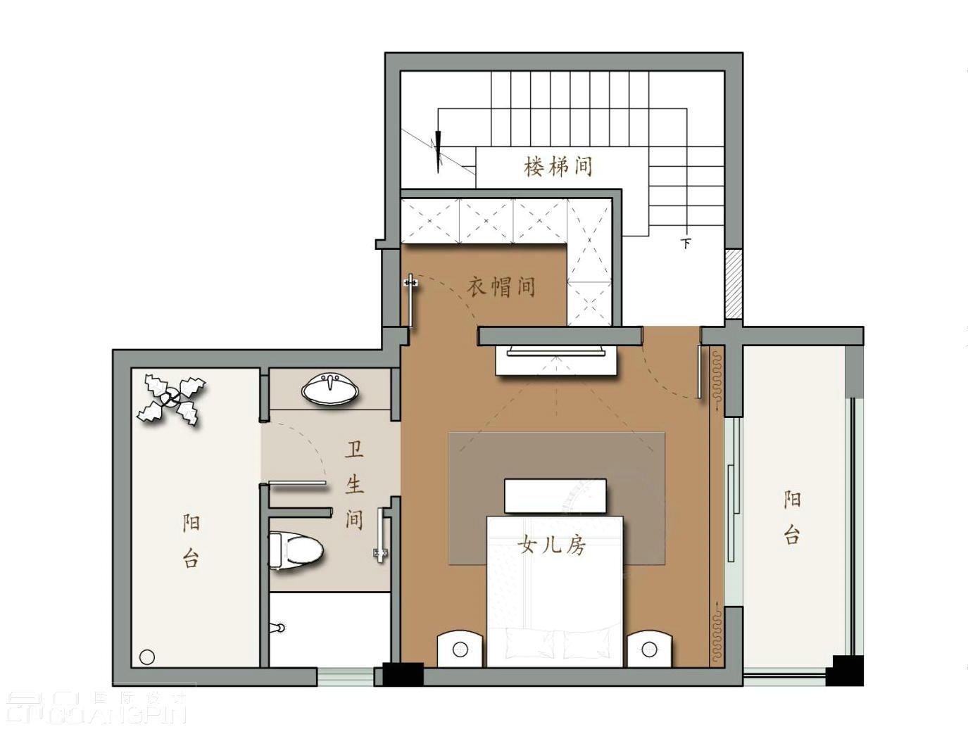 三楼平面设计 三楼为女儿房,包含卧室、衣帽间和卫生间,由于顶楼为尖顶,层高较高,所以隔了一个阁楼来为女儿使用。平面方案就这样了,大家看看有什么需要改的地方吗? 更多贵阳别墅装修设计案例、更多大宅设计咨询,及时关注微信:2853766533!