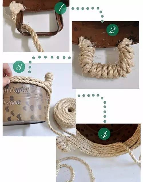 麻绳做家居收纳筐diy图解 1)从把手开始,用胶水把绳子粘恰当的位置.