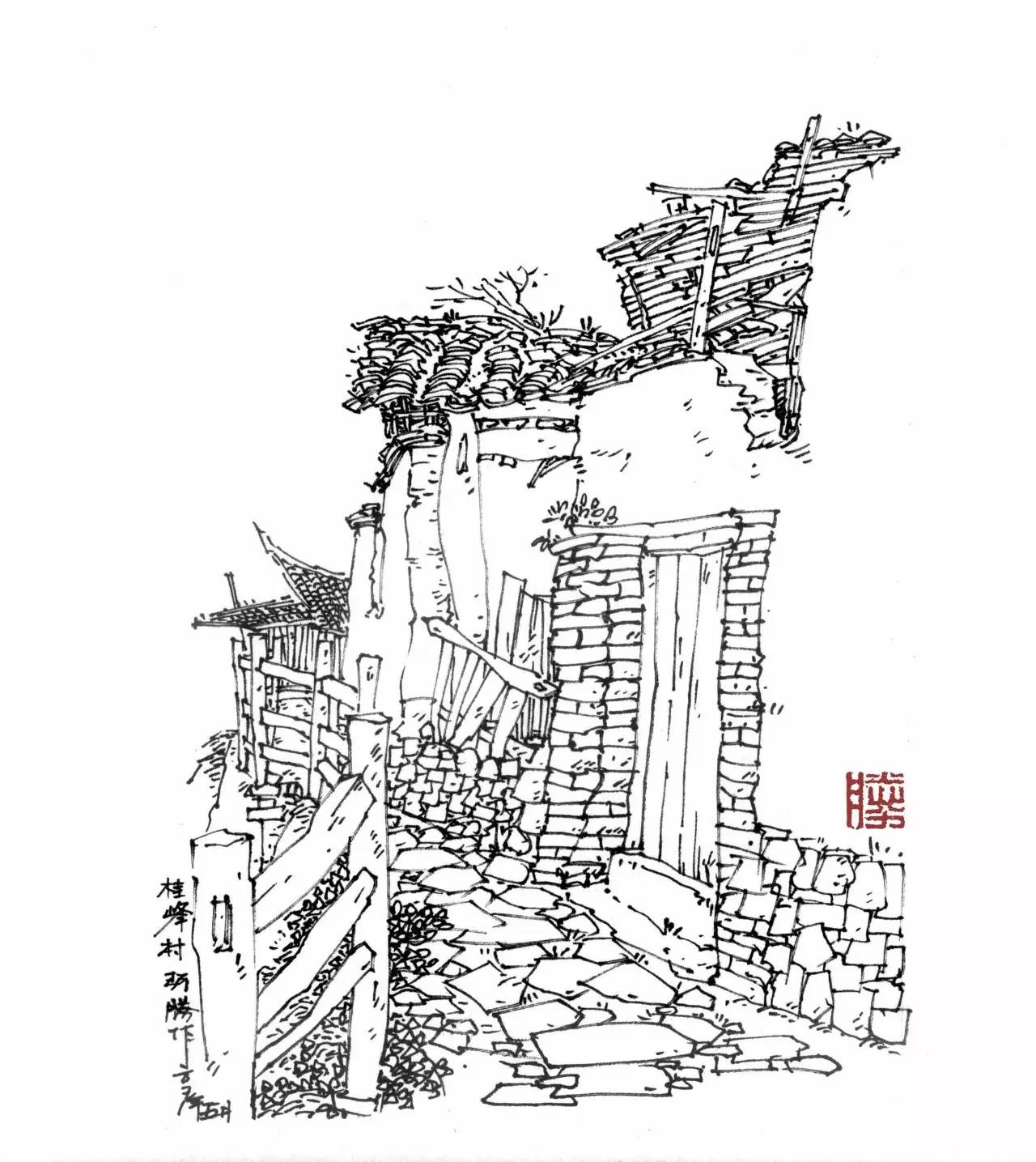福建特色建筑手绘
