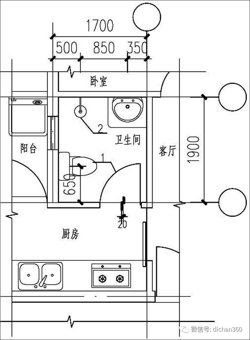 修改前卫生间平面图   修改后卫生间平面图   问题点:   1、无前室的卫生间门不应直接开向厨房;(《住宅设计规范》中的强条规定)   2、由于北方卫生间要采暖,暖通的分集水器组位于洗面盆下,而此洗面盆本身的长度有限,且旁边还放置洗衣机、水立管位置等,就