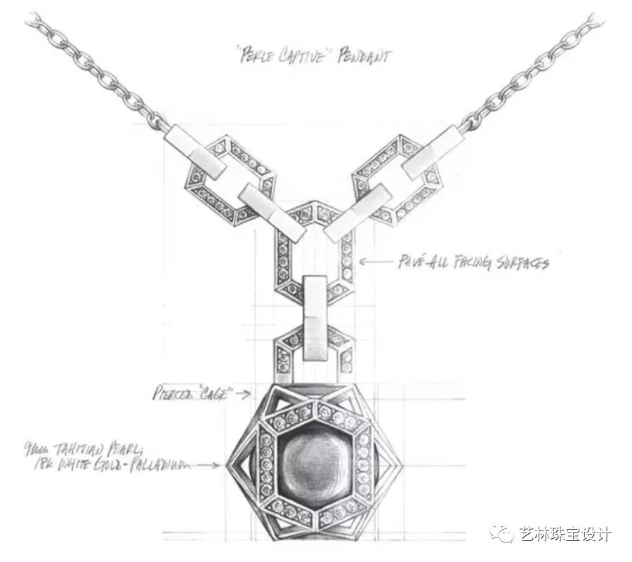 首饰手绘设计图珍珠