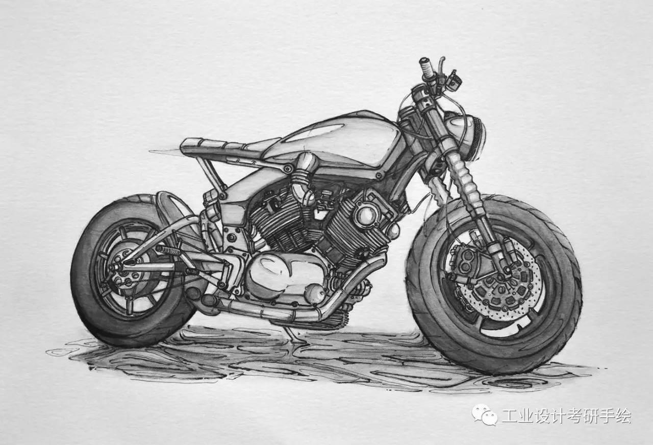 手绘摩托车--插图欣赏