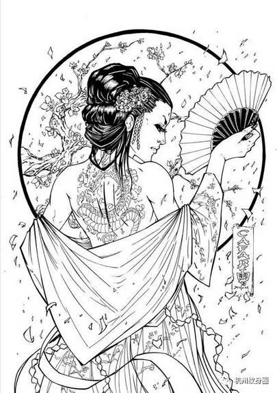 日本传统纹身:艺伎