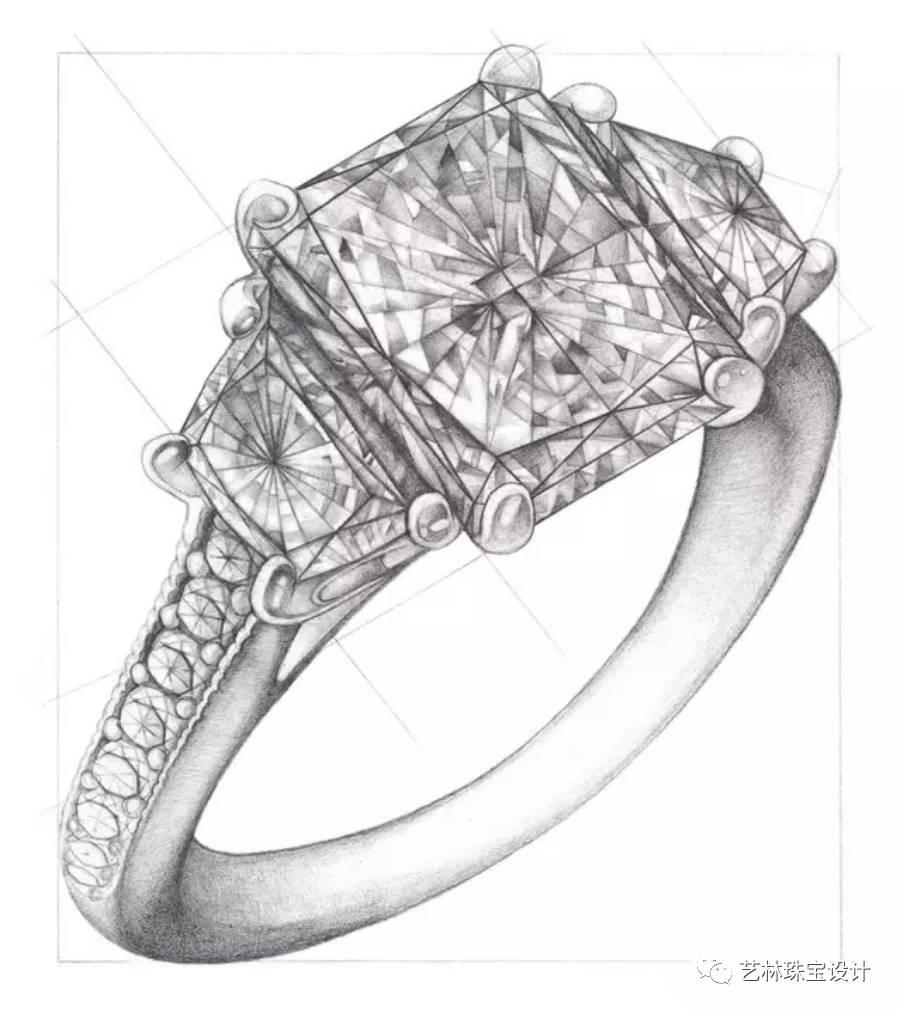 珍珠戒指手绘设计图