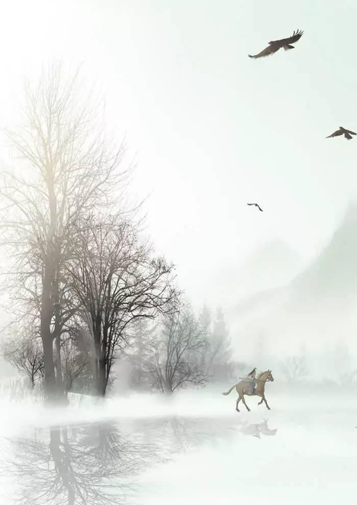 符殊的手绘插画 唯美的古风背景图片