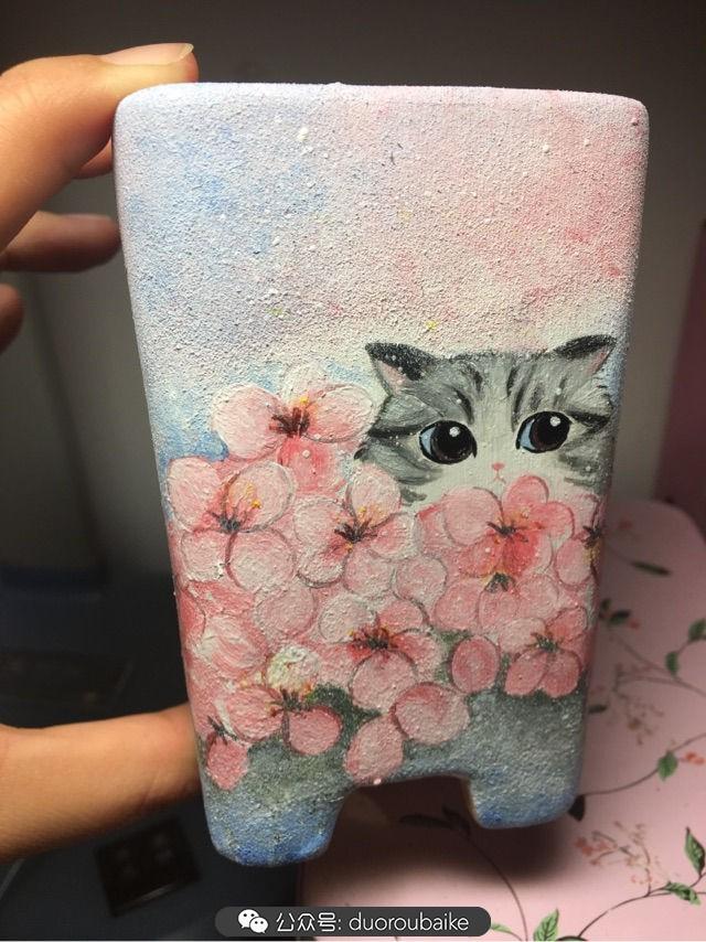 手绘多肉花盆:樱花躲猫猫,和小演一起玩捉迷藏吧!