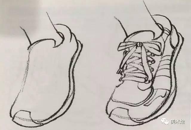 的如_3,根据脚部形态,刻画鞋子表面的细节,如鞋舌,鞋跟,鞋子图案等.