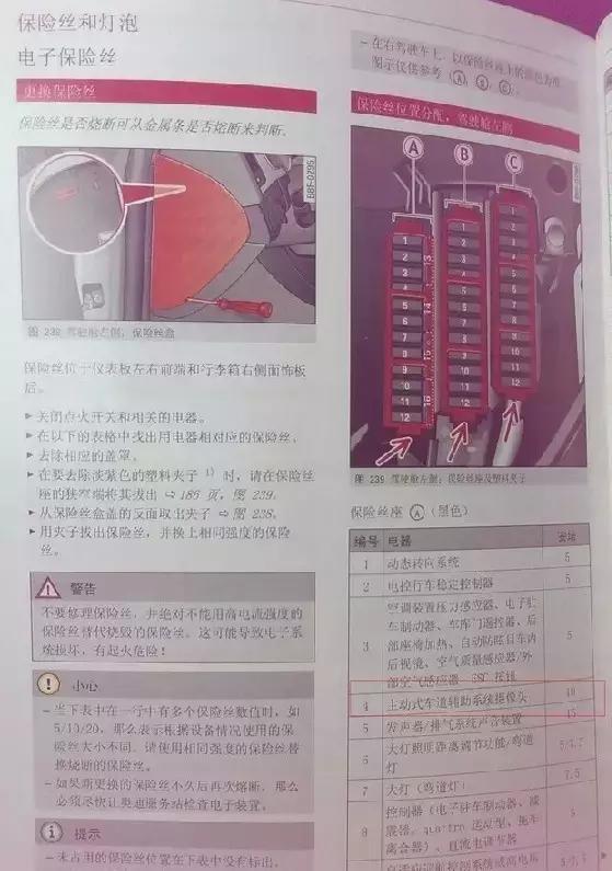奥迪a6l ,a4l,q3 ,q5,q7保险盒接线示意图