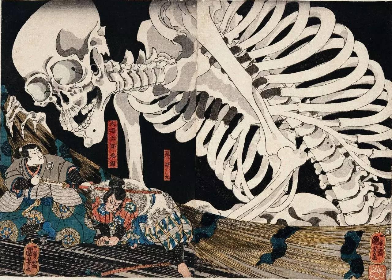 戏命之飞天神猪-相马旧王城》,   1844年-1847年   歌川国芳,日本江户时代人,是浮