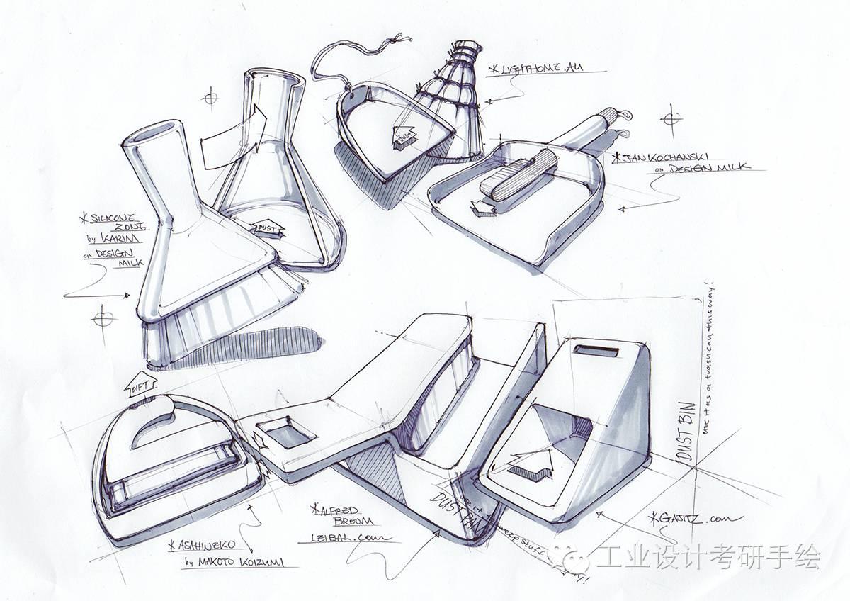 不同表现形式的产品手绘图
