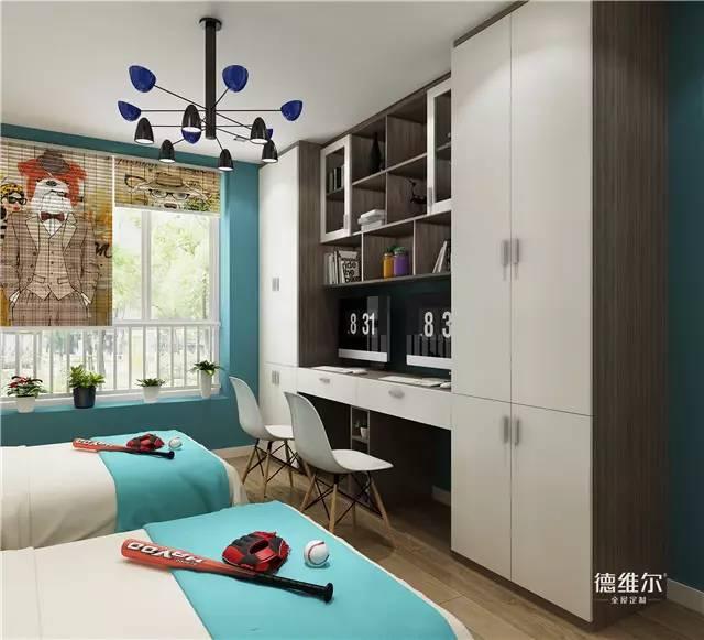 设计师巧妙地将衣柜和书柜一体化组合, 并以书柜为中心进行轴对称图片