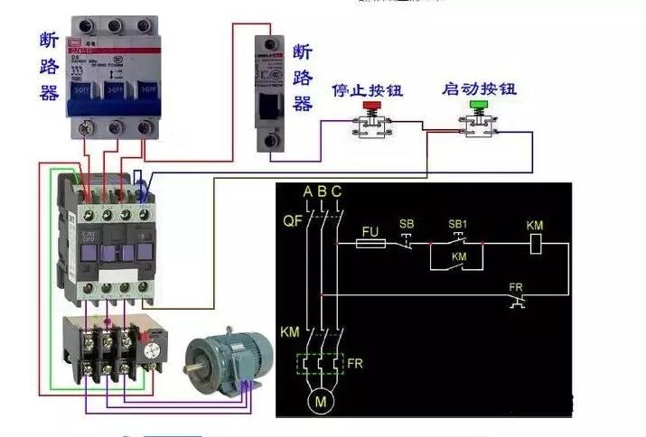 交流接触器接线方式 接触器上面都有标注(以实际为准) 1L3L5L对应2T4T6T是接主触点 对应的线圈有接线柱A1A2 还有辅助触点对应接就可以 13、14表示这个接触器的辅助触点,NO表示为常开,也就是没通电的情况下13、14是断开的,通电后13、14是闭合的。放在控制电路部分用来自锁(并联在启动按钮上),达到连续运行的目的。