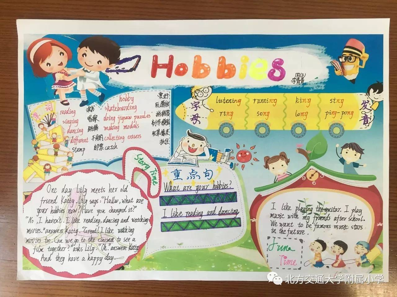 手抄报展示   pep人教版小学英语英语四年级的第四单元的thunder儿歌