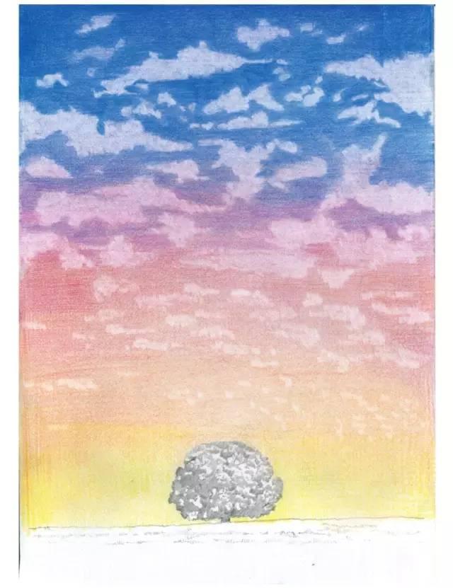 手绘彩铅天空图