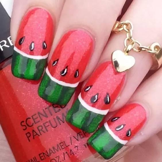 好吃的美甲系列之西瓜美甲!