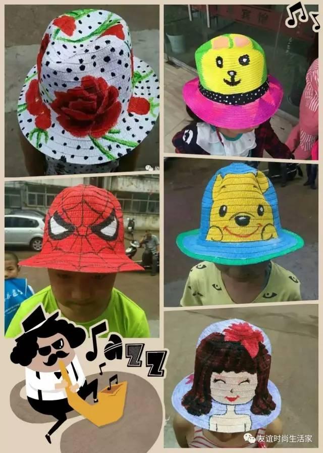 亲子彩绘草帽,马勺,小伞,吉他.图片