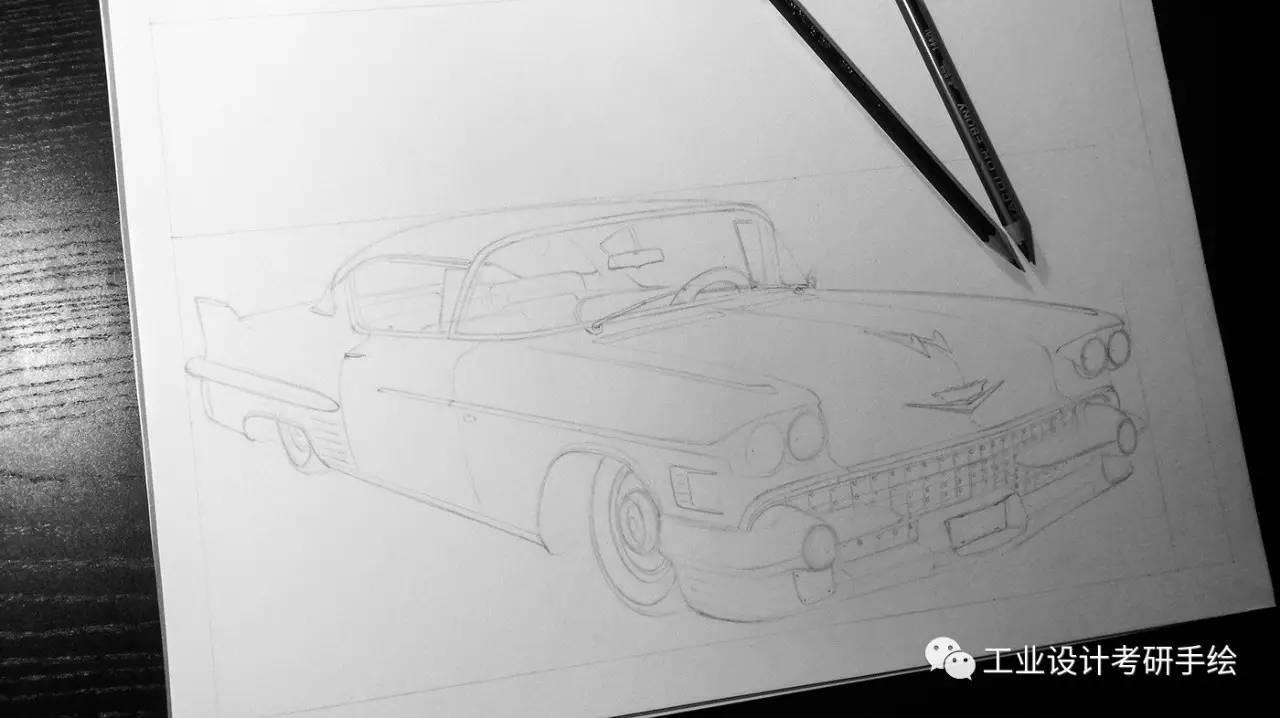 写实风格的汽车手绘图