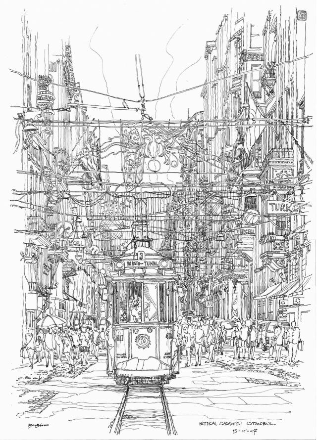 城市仰视图手绘