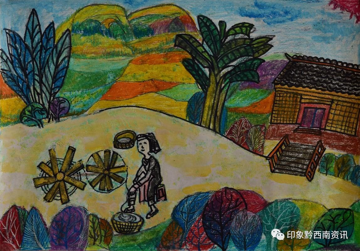 小学组绘画一等奖作品:《母亲》 作者:岑永琴-网络展 黔西南州 童心