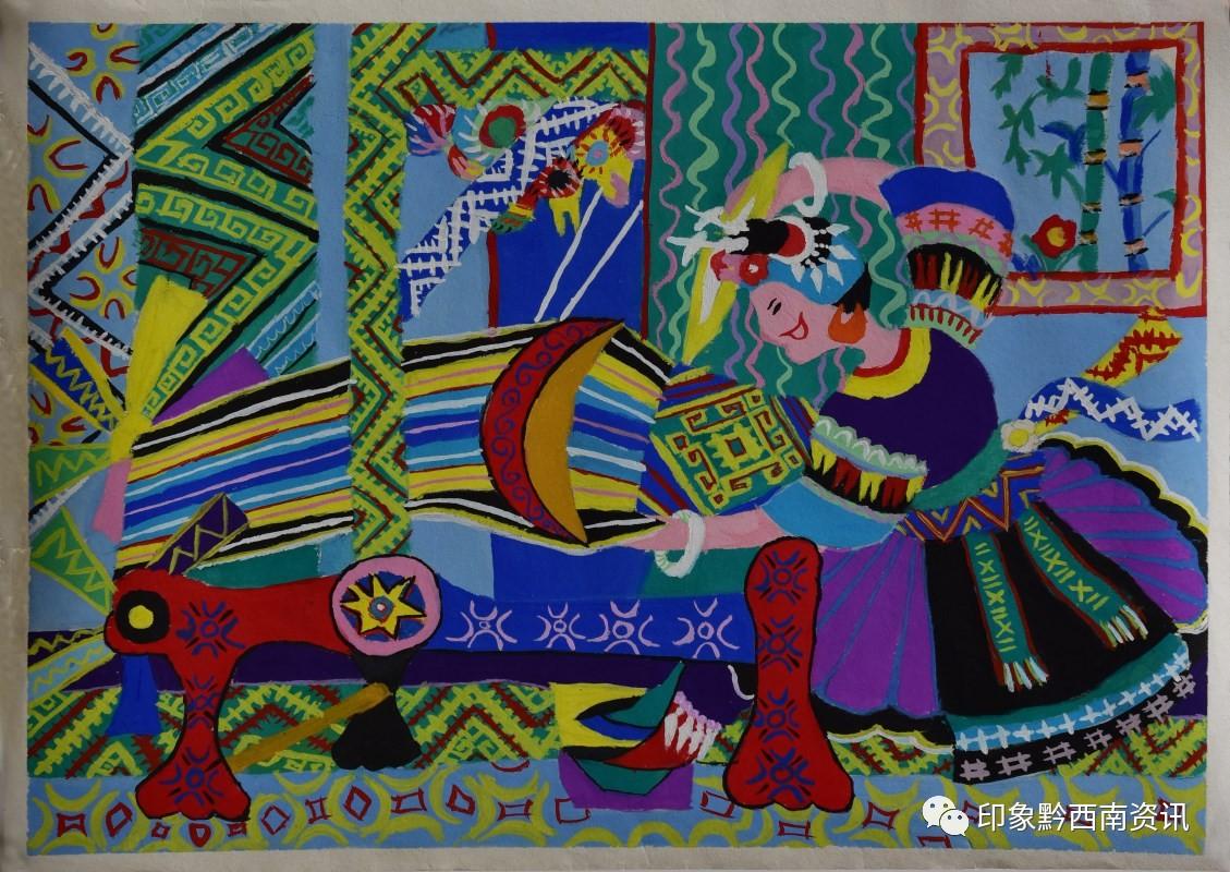 中学组绘画一等奖作品:《织》 作者:吴拉拉-网络展 黔西南州 童心向