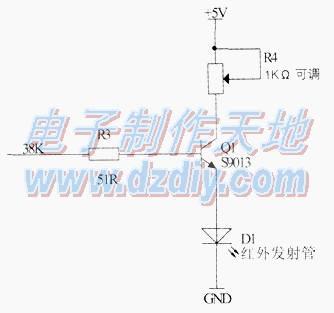 器电路,低电平触发,当接收到红外线时触发器被触发
