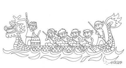 划龙舟简笔画图片