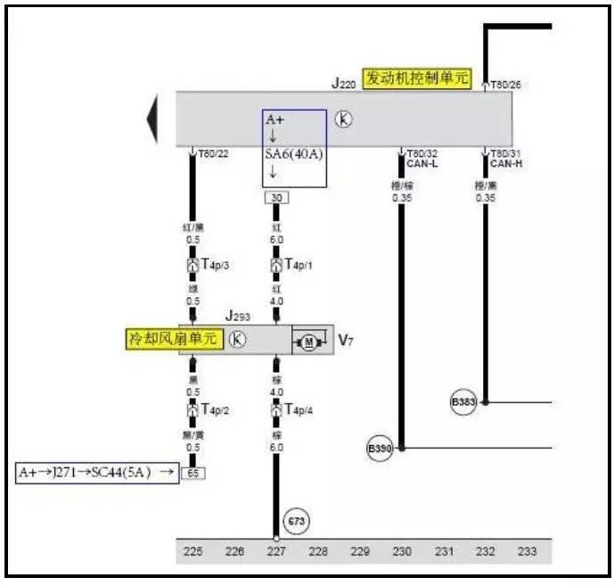 大众polo风扇继电器控制电路图