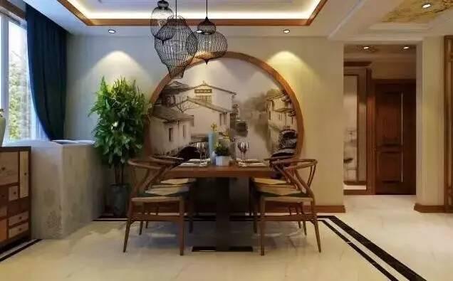新中式多采用原木搭配仿古镂空的设计,立柱灯光让整个书房都穿越回到图片