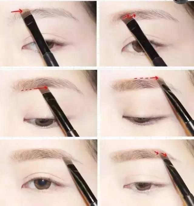 具体画眉方法~ 长脸画眉方法 画法图解: 一字眉削弱了眉峰,整个眉形