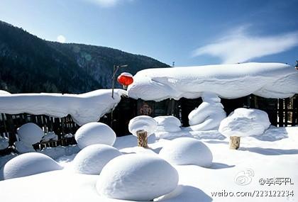 """""""中国雪乡"""":皑皑白雪卧山岗,大红灯笼映山红。"""
