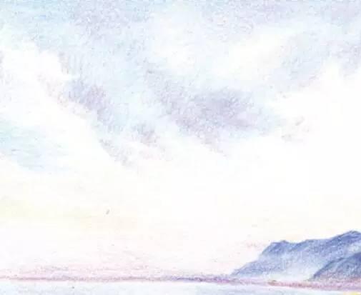 手绘彩铅天空素材