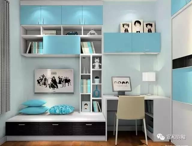 并行设计书柜与书桌,吊柜下再嵌入阅读角.