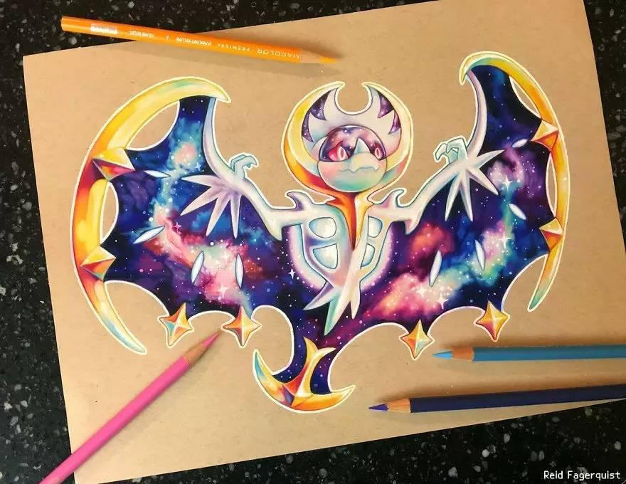 翅膀上星辰的花纹是怎么画出来的,太绚烂的.