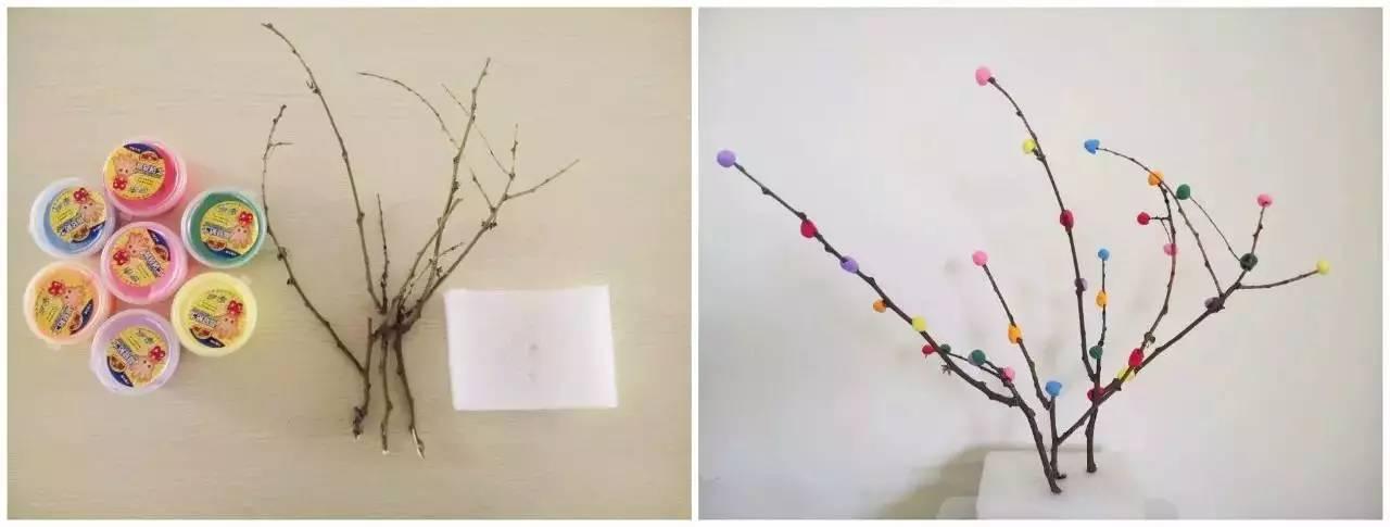 彩泥手工制作树枝花朵