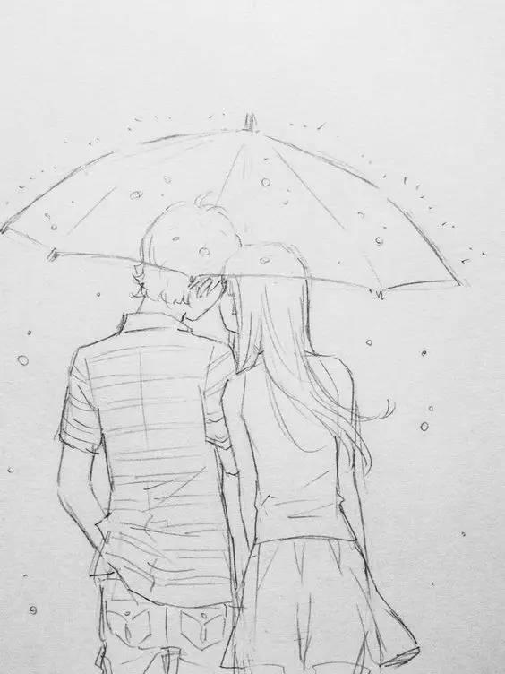 手绘情侣日常生活素描