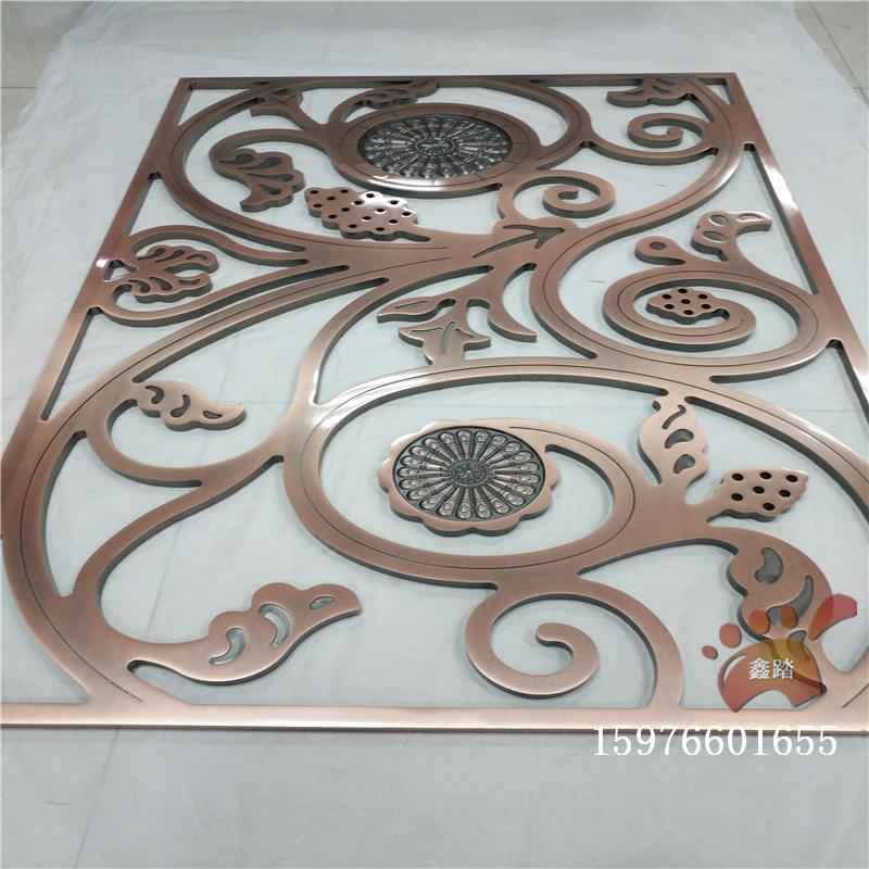 红古铜铝板雕刻楼梯护栏平雕和浮雕组合工艺实拍图