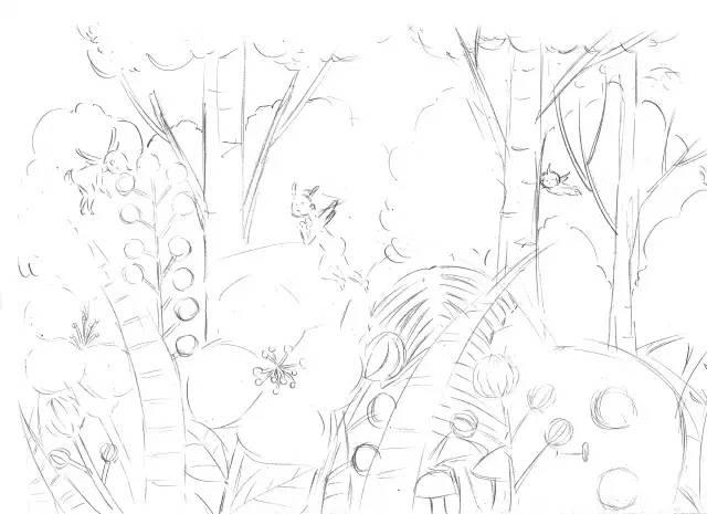 首先用铅笔画出大概的森林场景的线稿.
