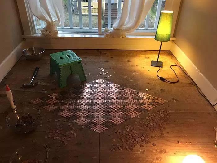 diy硬币地板是种什么样的体验?