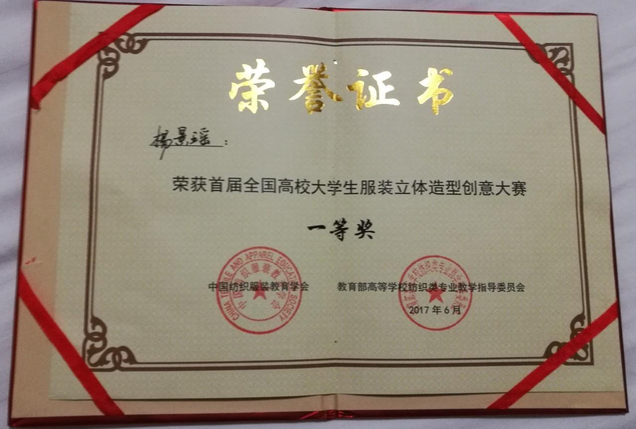 我校学生杨景瑶获得首届全国高校大学生服装立体造型创意大赛第一名图片