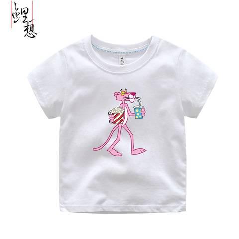 2017新款男士短袖t恤 韩版潮流粉红豹儿童卡通圆领纯棉亲子装夏装