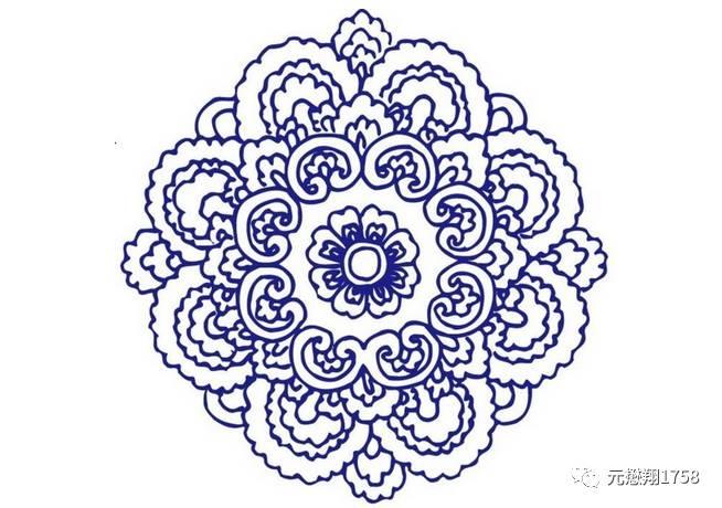 蓓蕾和叶子等自然素材,   按放射对称的规律重新组合而成的装饰花纹.