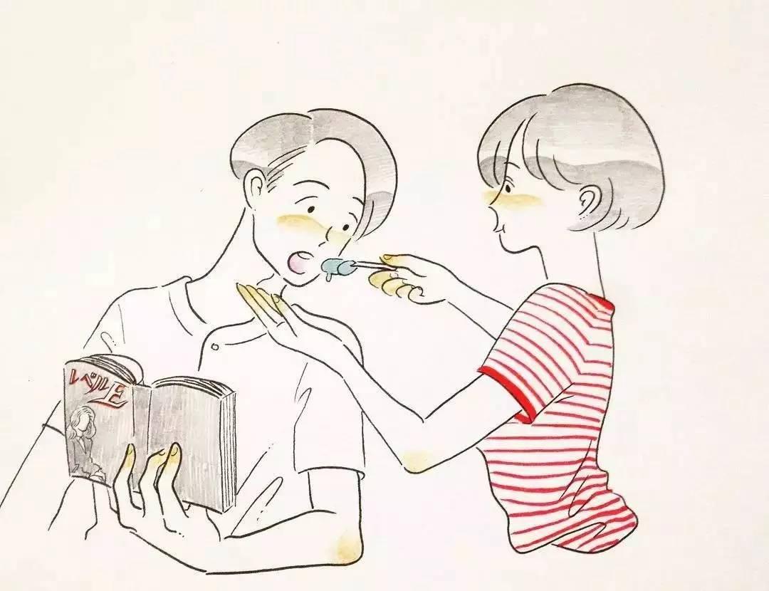 恋爱情侣手绘图卡通