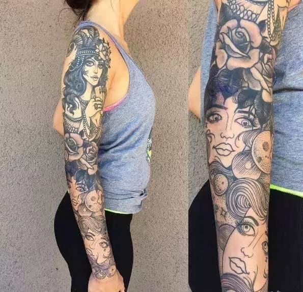女性黑灰的文艺花臂纹身