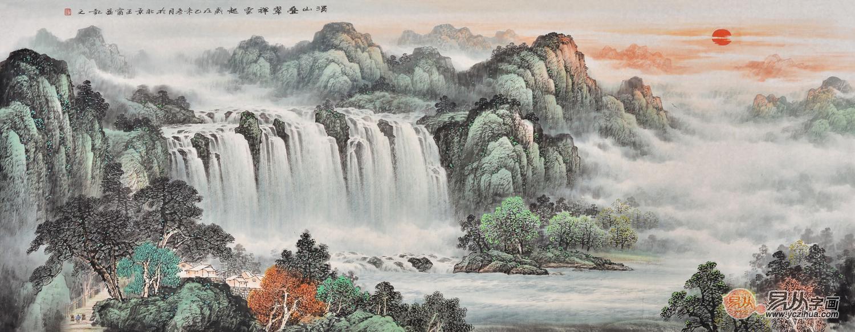 山水画映衬你的客厅风情  二,这幅中国山水画欣赏作品中,一眼望去就能图片