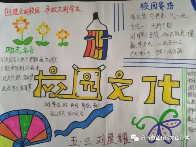 【章丘创城进行时】教体局(东山小学)手抄报话文明图片