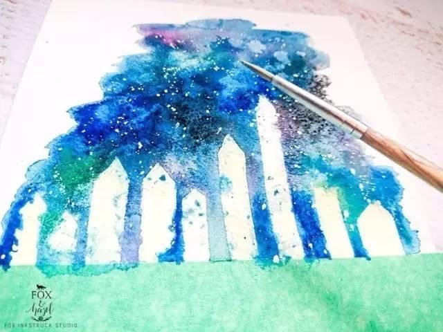 水彩 零基础都能学会的水彩 纯净蓝天和棉花糖般的白云